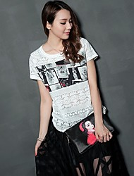 Women's Round Casual Shirts , Lace Beach/Casual/Lace/Cute/Party Short Sleeve ANWENXI