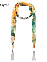 D Exceed   Ladies Summer Causal Fashion Lanscape Print Floral Chiffon Scarves Necklaces with Tassel Jewelry Scarf