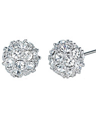 T&C Women's Elegant Clear Crystal Ball Stud Earrings 18k White Gold Plated Cz Diamond Party Jewelry