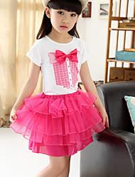 Cotton Gauze Short-sleeved Skirt Girl Suit  (2pcs)