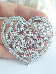 Wedding Accessories Silver-tone Clear Rhinestone Crystal Love Heart Brooch