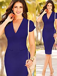 Tracy Women's Work V-Neck Short Sleeve Dresses (Polyester)