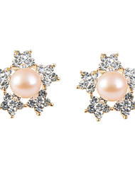 Glamorous 5 Petals Floral Shell Pearl 18k Gold Plated Stud Earrings