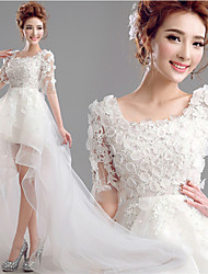 A-line Asymmetrical Wedding Dress - Scoop Lace