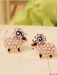 Stud Earrings Pearl Alloy Screen Color Jewelry 2pcs