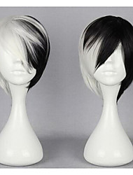 New Cheap 28CM Black and White New Cartoon Movie Gugure! Kokkuri-san Shigaraki Short Straight Cosplay Wig