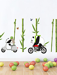 Wall Stickers Wall Decals Style Panda Bamboo Forest Riding A Motorcycle PVC Wall Stickers