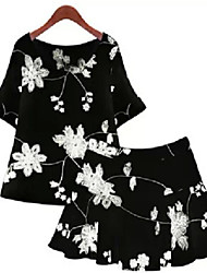 Women's Sexy Casual Print Cute Plus Sizes Inelastic ½ Length Sleeve Above Knee Dress (Polyester)