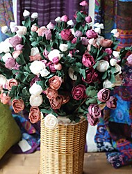 1 Bunch 5 Heads Rose Flower Artificial Bouquet Home Garden Decor (Random Color)