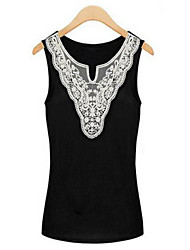 Women's Sexy Casual Lace Cute Inelastic Sleeveless Regular Vest (Lace)