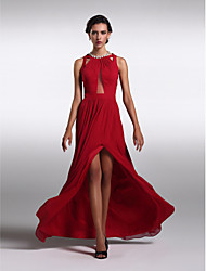 TS Couture Prom Formal Evening Dress - Beautiful Back Sheath / Column Jewel Floor-length Chiffon with Pleats Split Front