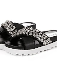 Women's Shoes Faux Leather Low Heel Wedges/Creepers Sandals/Slippers Casual Black