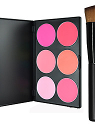 Pro Party 6 Colors Face Blush Blusher Powder Palette + 1PCS Makeup Foundation Brushes