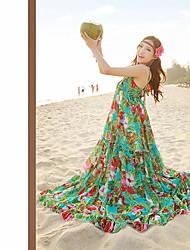 Bohemian Chiffon Dress Harness Backless Dress Pure and Fresh and Green