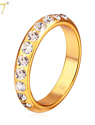 U7® Women's Brilliant Cut Rhinestones 18K Real Gold Plated Women Jewelry Size 7-10 Simple Style Vintage Band Rings