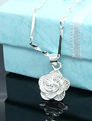 Lucky Doll Women's All Matching 925 Silver Plated 3D Flower Necklace