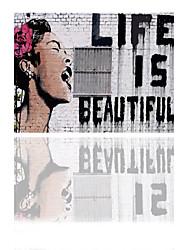 VISUAL STAR® Life Is Beautiful Bansky Pop Street Art Printing on Canvas Ready to Hang