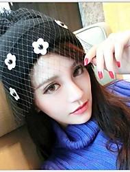 Women Cute Folwer Veil Knitting Lace Hat