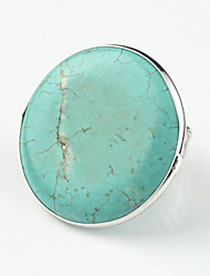 Vintage Look Antique Silver Round Turquoise Stone Copper CCB Adjustable Free Size Ring(1PC)
