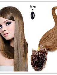 u ponta de prego pré-ligado fusão extensões de cabelo ponta do prego queratina virgem brasileira do cabelo humano 1g / s 100g / pc 1pc /
