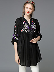 Women's V Neck/Shirt Collar Sequins/Pocket/Embroidery/Pleated Blouse , Silk/Cotton ½ Length Sleeve Women's Neckline