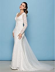 Lan Ting Sheath/Column Wedding Dress - Ivory & Ruby Court Train V-neck Lace