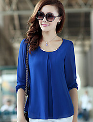 Moon Sunday Women's All Match Solid Color Chiffon Long Sleeve Shirt