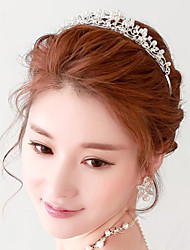 Elegant Rhinestones Titanium Wedding/Party Bridal Headpieces/Tiara with Imitation Pearls