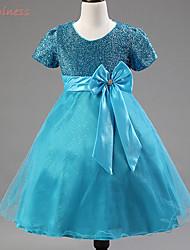 Girl's Summer/Spring/Fall Micro-elastic Medium Short Sleeve Dresses (Cotton Blends/Organza/Polyester)