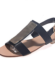 Women's Shoes Flat Heel T-Strap Sandals Casual Black/White
