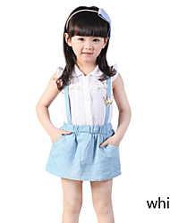 Girl's Summer Denim Dresses Shirt Suspenders Skirt Clothing Set Sundress Gift False Two-piece
