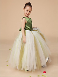 Ball Gown Floor-length Flower Girl Dress - Satin / Tulle Sleeveless Straps with