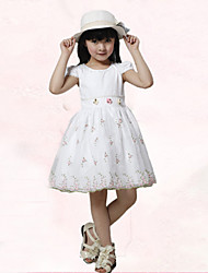 Girl's Cotton/Polyester Sweet Leisure Embroidery Gauze Princess Dress