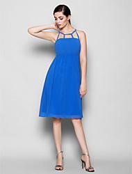 Knee-length Chiffon Bridesmaid Dress - Ocean Blue Sheath/Column Scoop