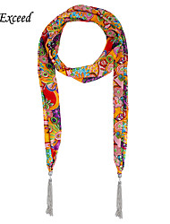 D Exceed Shawls And Scarves Vintage Flower Print Chiffon Winter Tassel Scarf Necklaces For Women's Scarves Jewelry