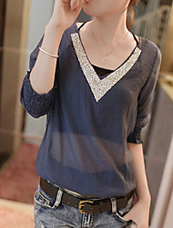 Women's Vintage Sexy Casual Cute Party Work Micro Elastic Long Sleeve Regular T-shirt (Chiffon)