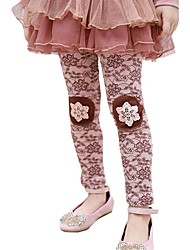 Girl's Spring Fall Lace Embroidered Tights Flax Cotton Pants Party Waist Printing Leggings (Cotton)
