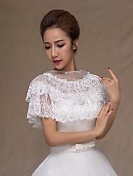 Gorgeous Women's Ruffled Wedding Wraps Ponchos Sleeveless Beaded Lace Bridal Bolero Shrug