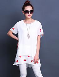 Women's Print White/Black Blouse , Round Neck Short Sleeve