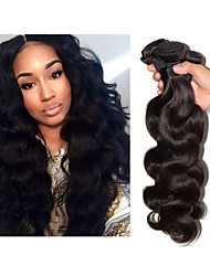 "3pcs/lot 8""-34""Brazilian Unprocessed Virgin Hair Body Wave 300g #1b Human Hair Wefts Hair Extension"