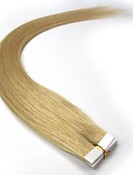 fita no cabelo humano extensão # 24 20pcs cor louro médio remy extensões virgens brasileiras do cabelo de trama da pele em linha reta