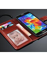 Pour Samsung Galaxy Coque Porte Carte Portefeuille Avec Support Clapet Coque Coque Intégrale Coque Couleur Pleine Cuir PU pour Samsung S5