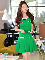 Vestidos ( Elástico/Nilón/Viscosa )- Casual/Tela de Encaje/Trabajo Redondo Sin Mangas para Mujer
