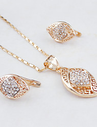 18K Real 585 Gold Plated Rose Gold Color Hollow Out Necklace+Earrings Jewelry Set