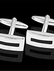 Men's Rectangle Black Silver Toned Wedding Suit Shirt Men's Cufflinks