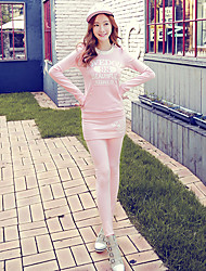 Pink Doll®Women's Casual/Print/Cute Letter Pocket Long Sleeve Hoodies