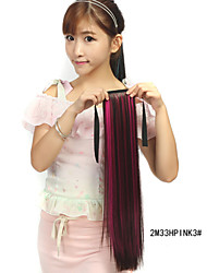 The New Dark Brown  Dye Mei Red Tether  Straight Hair Ponytail