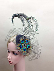 Women Net Peacock Feather Flower Fascinators/Flowers With Wedding/Party Headpiece