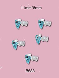 B683 11mm*8mm  Blue Silver Animal Rhinestones Alloy Nail Art Decoration For DIY Tips  10pcs/lot