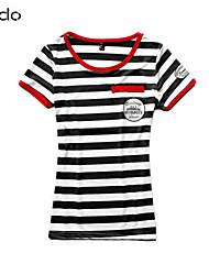 Mulheres Camiseta Decote Redondo Manga Curta Misto de Algodão Mulheres